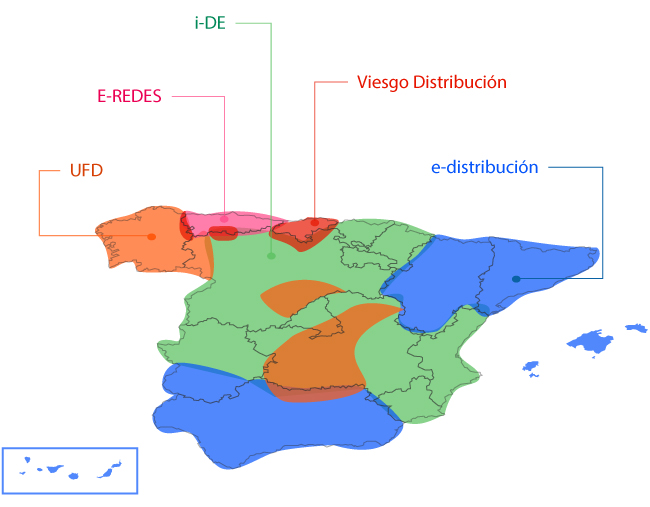 Map of Spain with the zone for each electricity distributor. The information is then explained afterwards in text.
