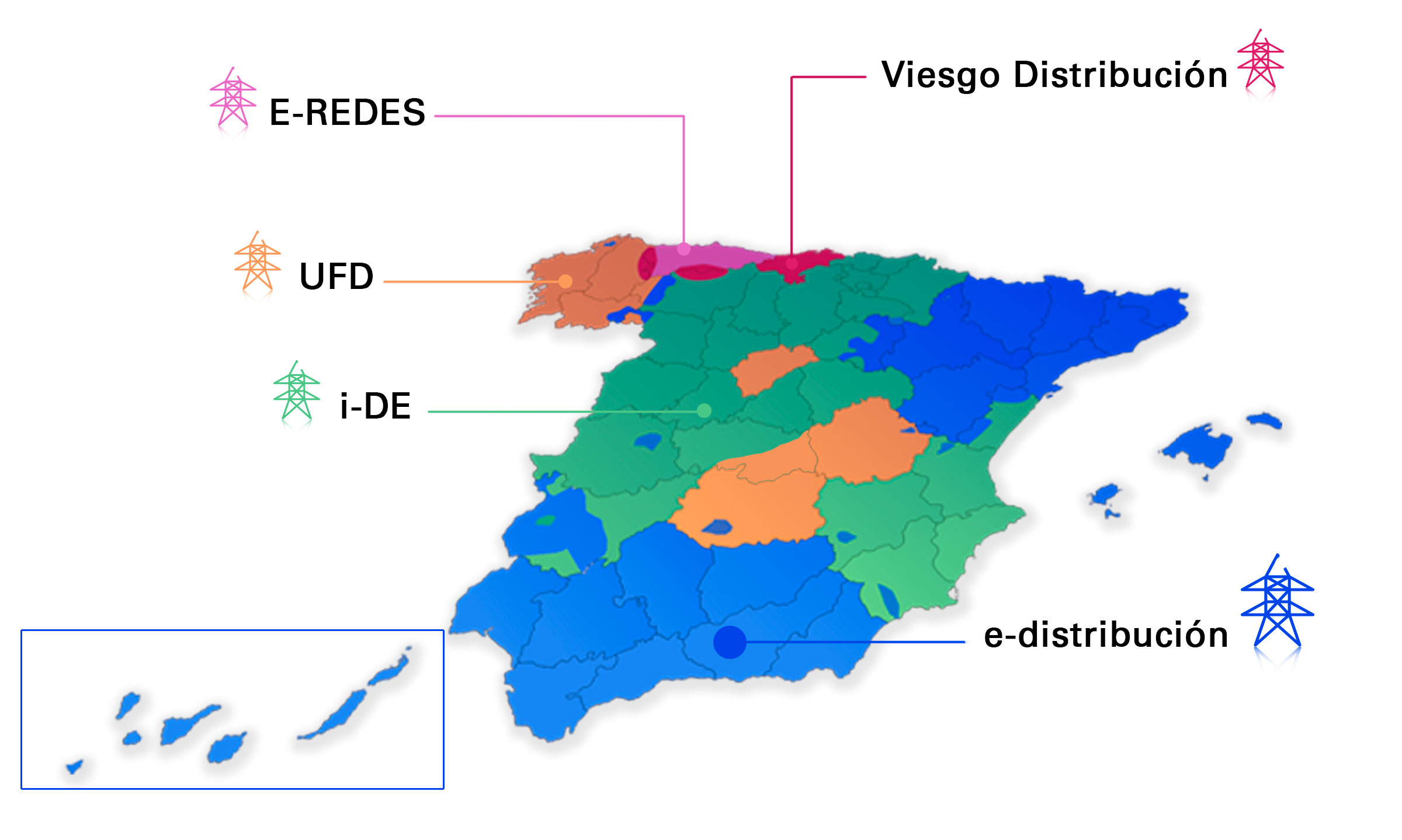 Map of Spain with the areas pertaining to each electricity distribution company.