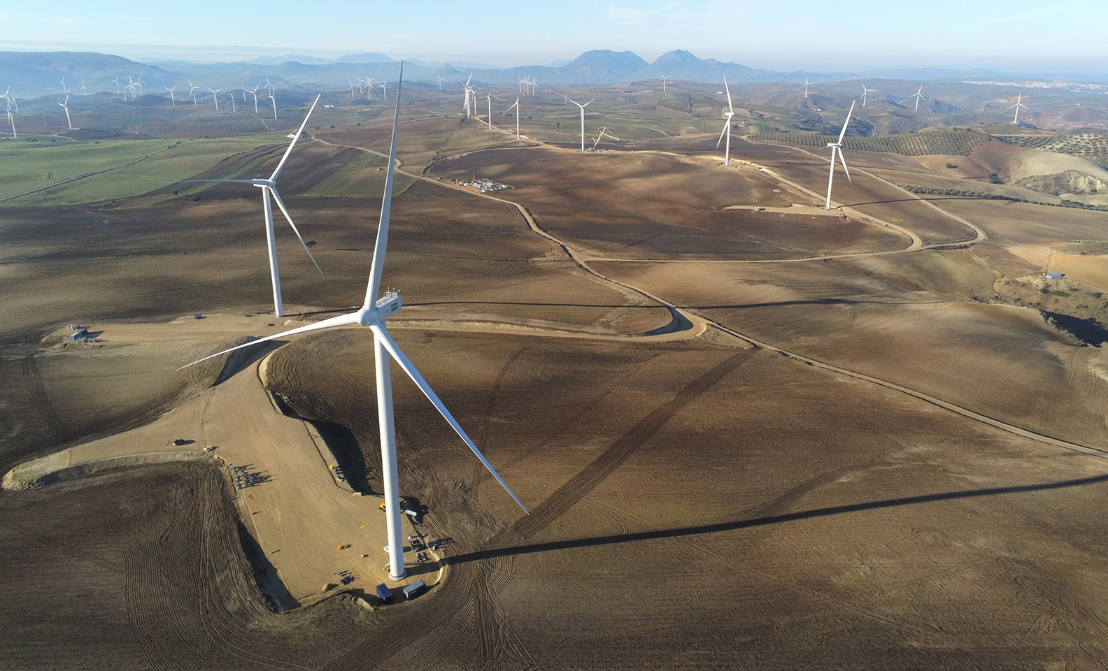 Aerial view of the Los Arcos wind farm in Malaga.