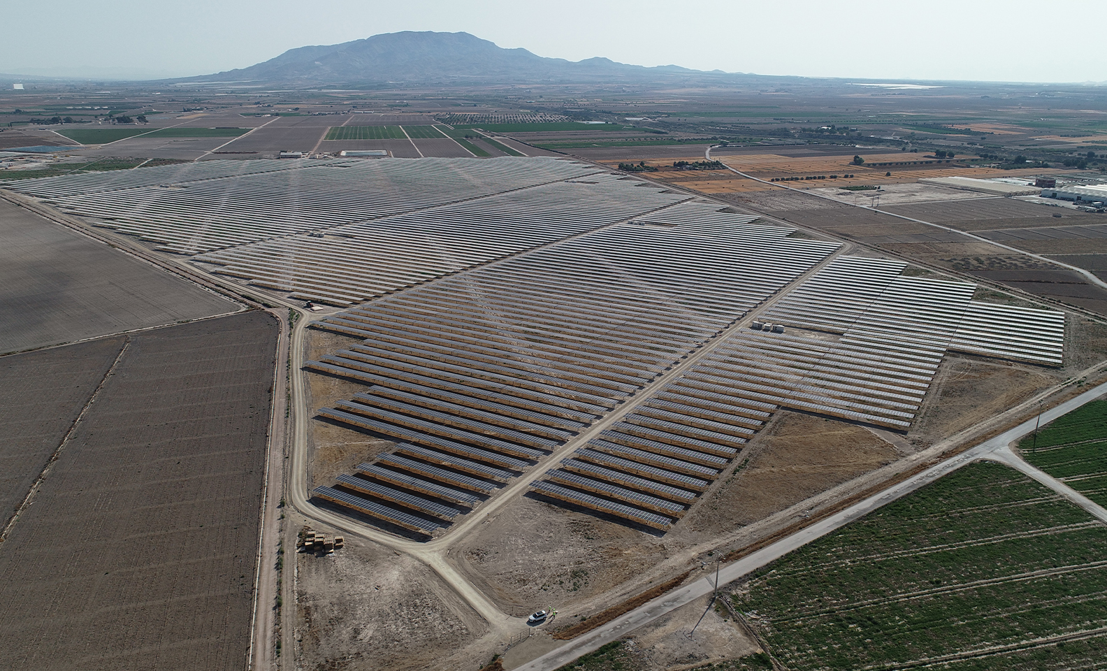 Aerial view of the Totana photovoltaic park in Murcia.