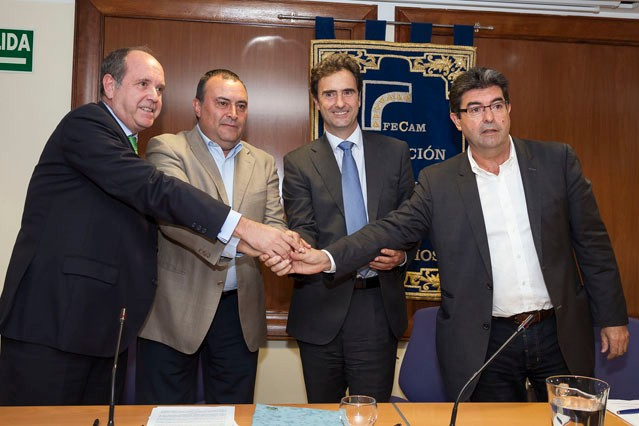 Representatives of Endesa during the signing of the agreement with the Canarian councils to tackle energy poverty