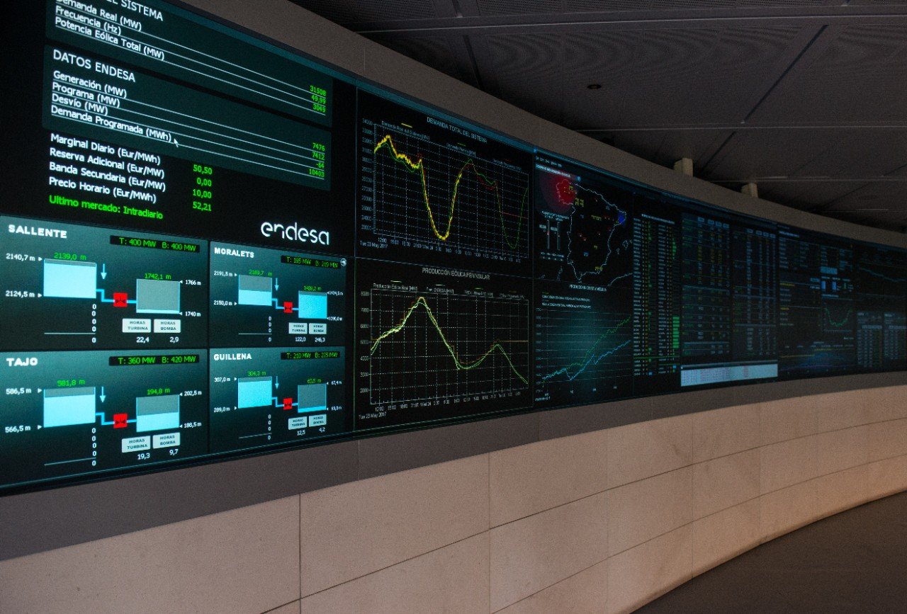 Picture of the control center at Endesa