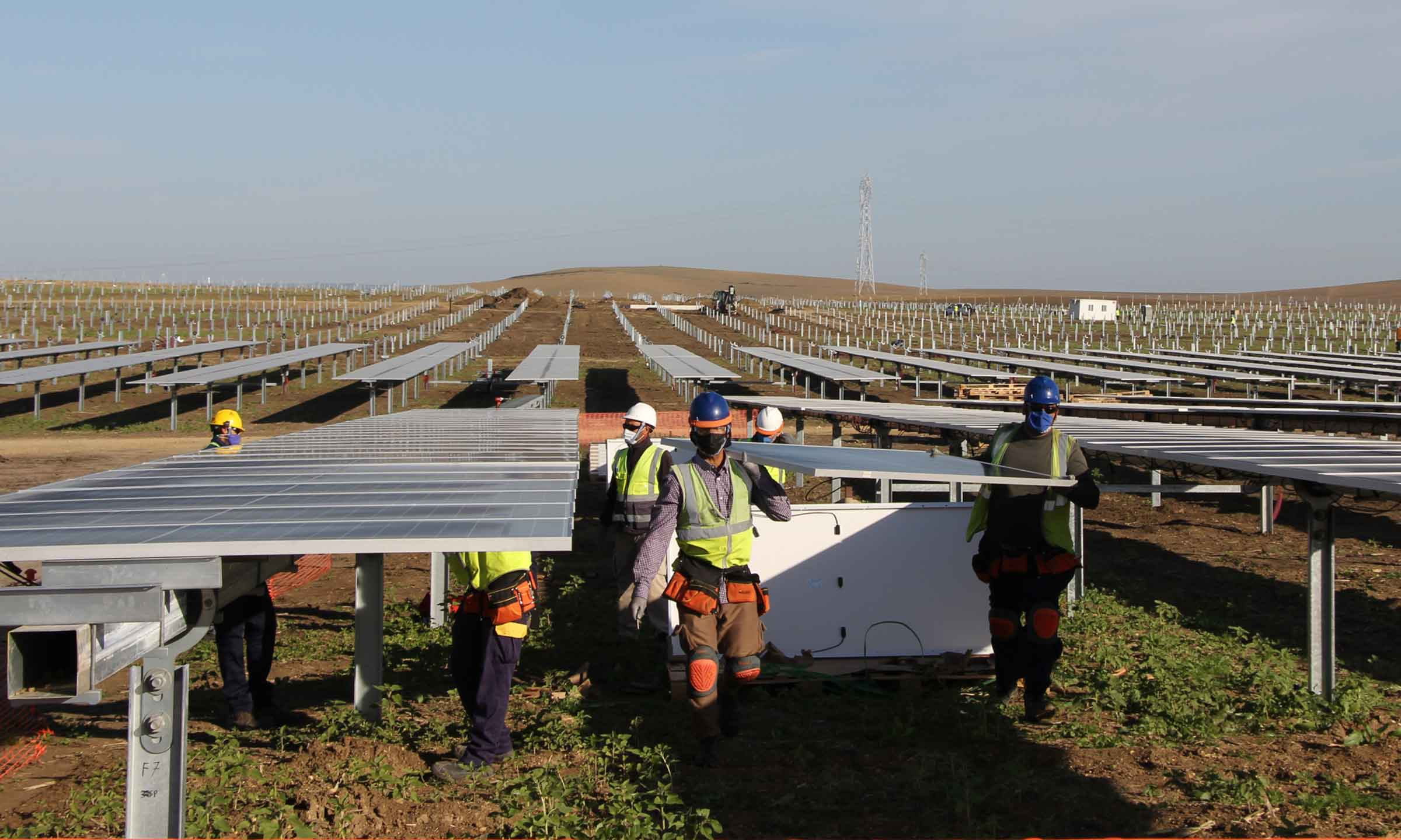 Construction works for a photovoltaic plant in Andalusia.