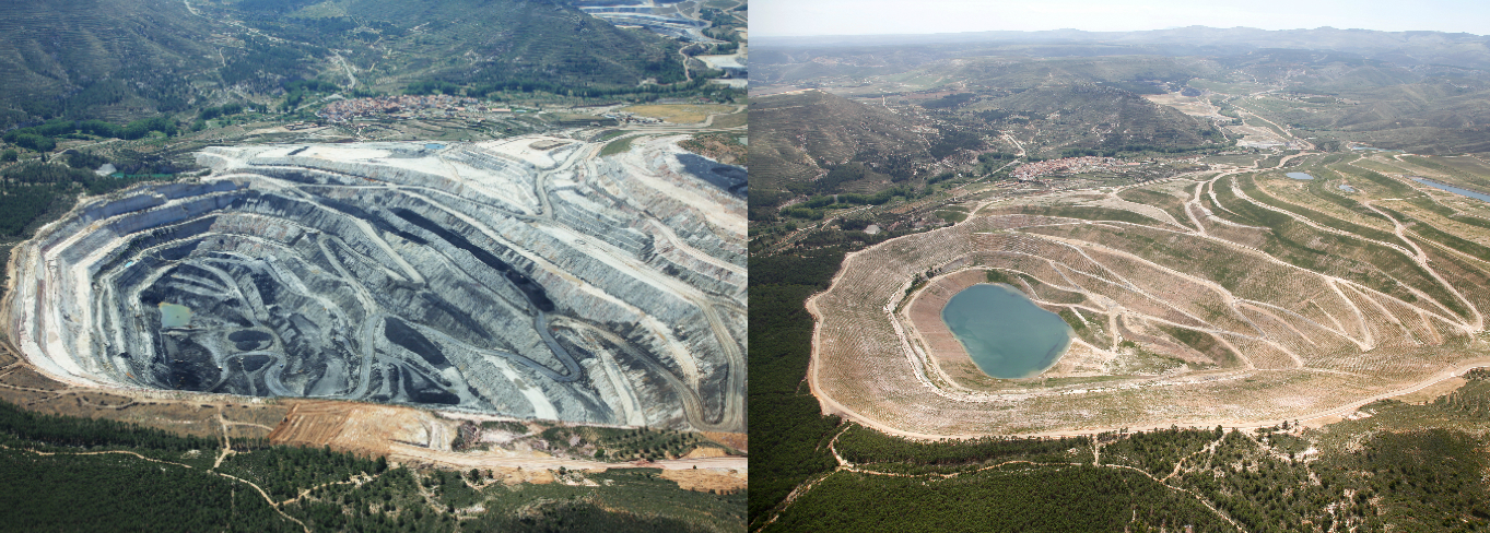 Before and after the mining restoration in Estercuel