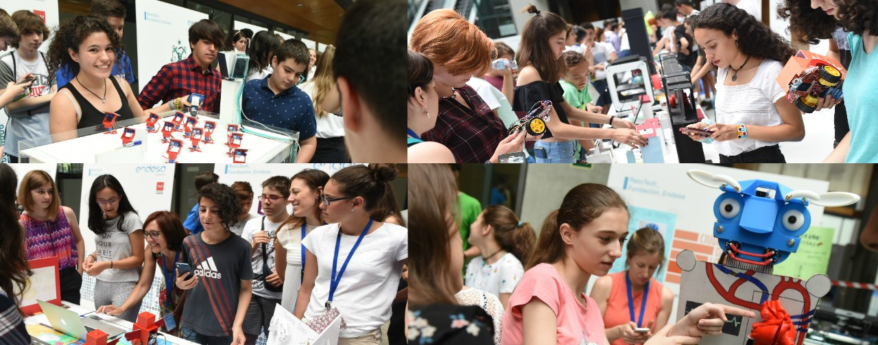 some photos of the students at the event with their projects